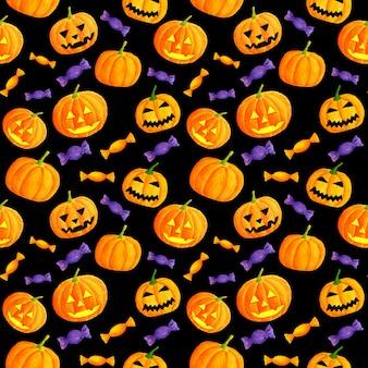 Aquarell halloween nahtloses muster mit geschnitzten kürbissen und süßigkeiten