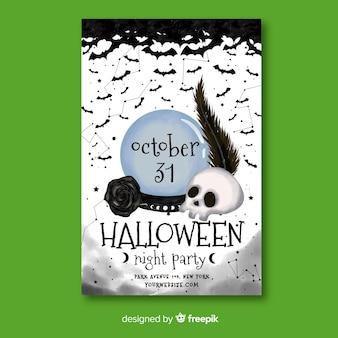 Aquarell halloween party flyer vorlage
