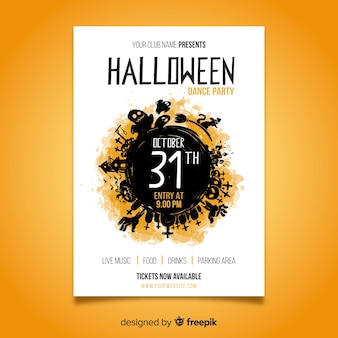 Aquarell halloween party plakat vorlage