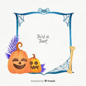 Aquarell halloween-rahmen mit kürbis
