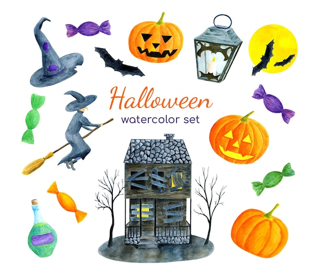 Aquarell-halloween-set mit geisterhaushexe und geschnitzten kürbissen