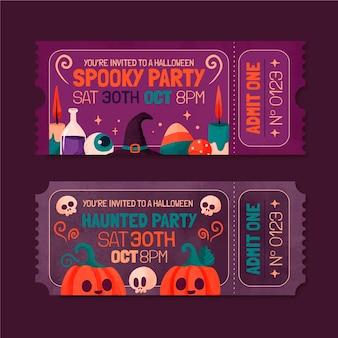 Aquarell-halloween-tickets-set