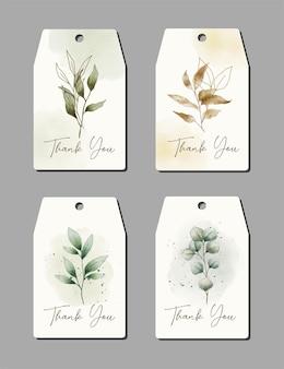 Aquarell hand gezeichnet dankeskarte mit pflanzenschablonensammlung