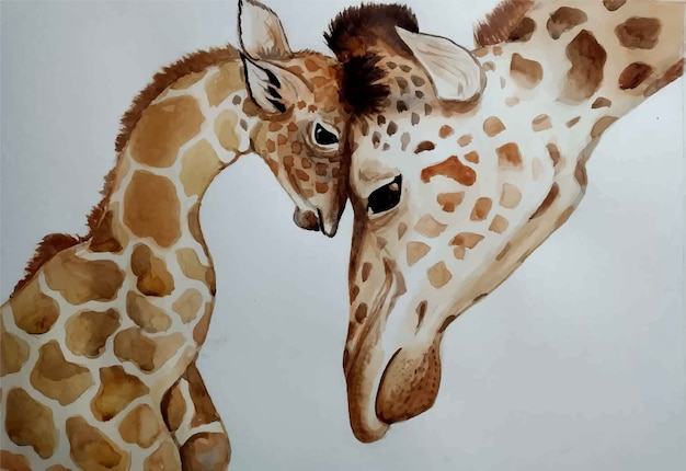 Aquarell hand gezeichnete porträt mutter baby giraffe isolierte illustration