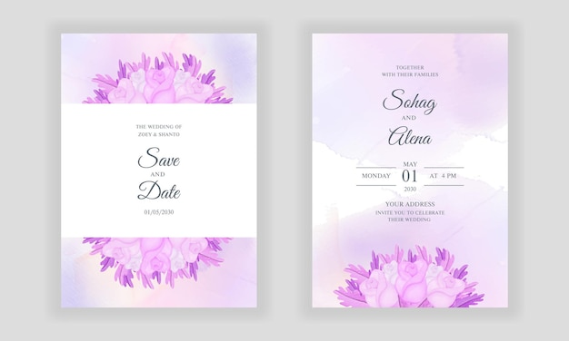 Aquarell hand zeichnen floral jäten einladungskarte mit weichen rosa rosen und blättern hintergrund