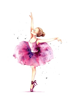 Aquarell hand zeichnen schöne ballerina