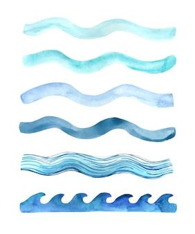Aquarell handgemalte blaue wellen spritzt.