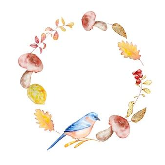 Aquarell handgemalter herbstkranz aus leuchtend gelb-orangefarbenen zweigen und blättern, pilzen, beeren und bluebird. herbstillustration für design und hintergrund