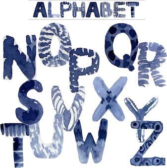 Aquarell handgemaltes alphabet