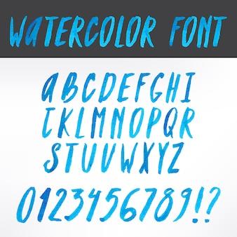 Aquarell handgeschriebene blaue alphabetbuchstaben