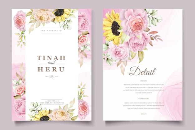 Aquarell handgezeichnete blumen mit schönen farben einladungskartenset