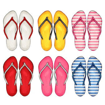 Aquarell handgezeichnete bunte flip-flops