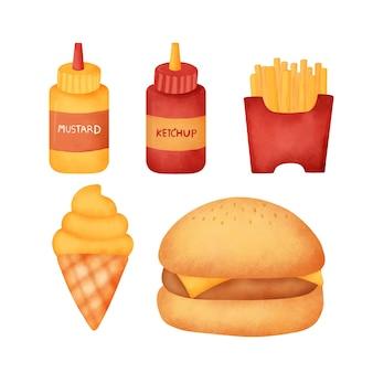 Aquarell handgezeichnete fast-food-set.