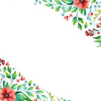 Aquarell handgezeichnete frühlingsblumen - leerer quadratischer rahmen.
