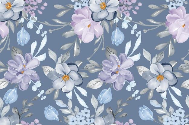 Aquarell handgezeichnete hintergrund nahtlose muster blume lila
