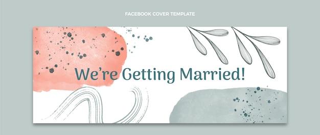 Aquarell handgezeichnete hochzeit facebook cover