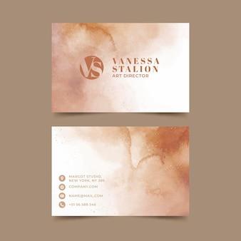 Aquarell handgezeichnete horizontale visitenkarten
