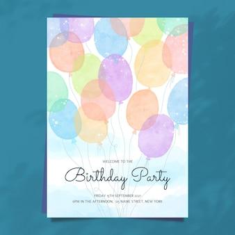 Aquarell handgezeichnete partyeinladung