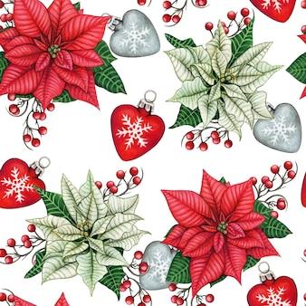 Aquarell handgezeichnete poinsettia weihnachten nahtlose muster