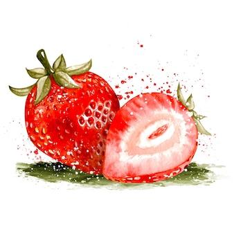 Aquarell handgezeichnete realistische frische erdbeerfrucht