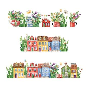 Aquarell handgezeichnete straßen mit ländlichen häusern, sommerblumen und kräutern lokalisiert auf einem weißen hintergrund. aquarellillustration mit blumenstraßen