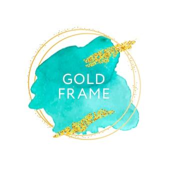 Aquarell handgezeichnete strichbeschaffenheit mit goldenem rahmen Premium Vektoren