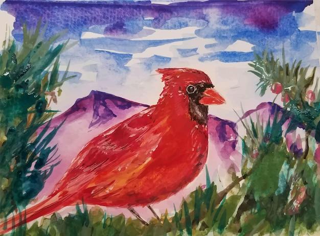 Aquarell handgezeichnete vogelillustration