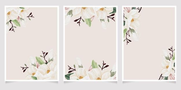 Aquarell handgezeichnete weiße magnolienblume und grüne blattzweigblumenstraußhochzeitseinladungskartenschablonensammlung