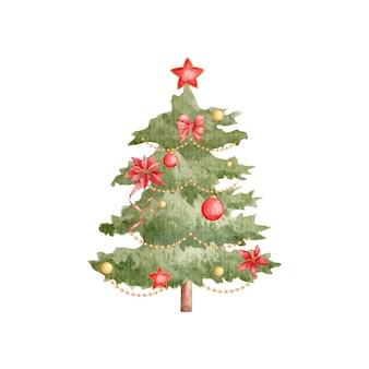 Aquarell handgezeichneter dekorativer weihnachtsbaum