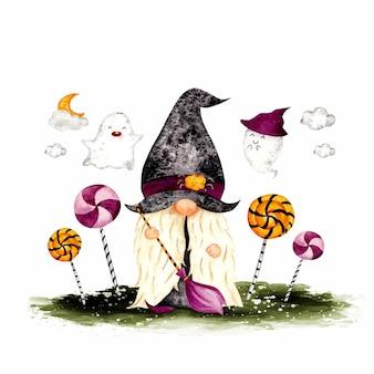 Aquarell handgezeichneter halloween-gnome