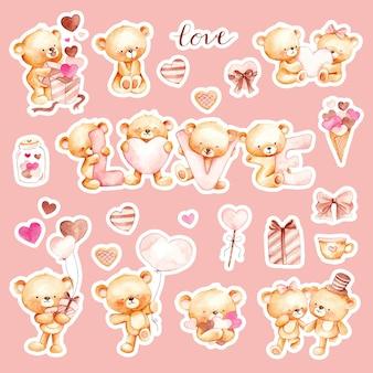 Aquarell handgezeichneter niedlicher teddybär-aufkleber