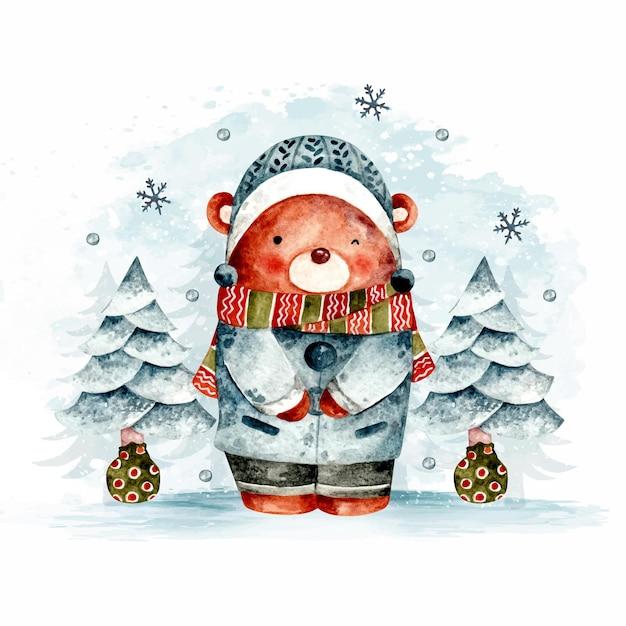 Aquarell handgezeichneter weihnachtsbär ein baum