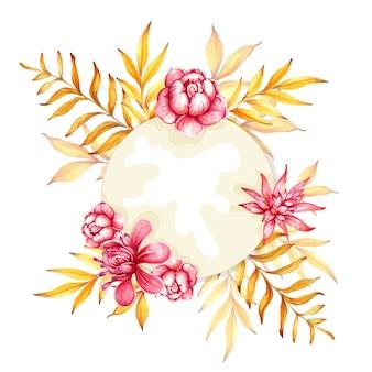 Aquarell handgezeichnetes florarium mit rosen und tropischen blättern