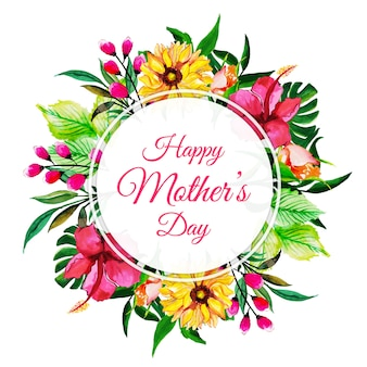 Aquarell happy mother's day floral frame hintergrund