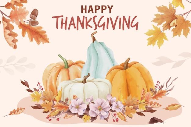 Aquarell happy thanksgiving day hintergrund mit herbstlaub und kürbissen