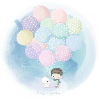 Aquarell hase und junge mit ballon