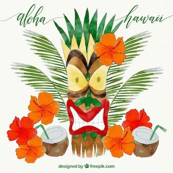 Aquarell hawaiianische stammesmaske und cocktails