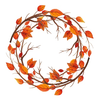 Aquarell Herbst Blätter Rahmen