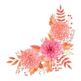 Aquarell-herbst-boho-blumensträuße mit beige und orangefarbenen blüten und blättern