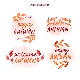 Aquarell herbst etikettenkollektion