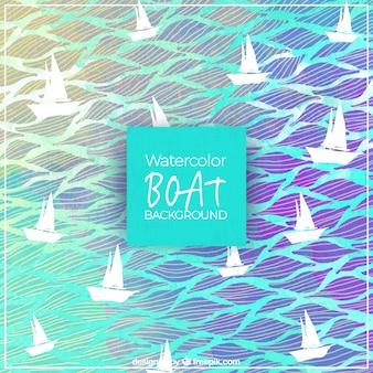 Aquarell hintergrund der segelboote