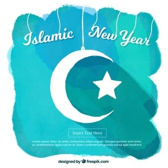 Aquarell hintergrund des islamischen neuen jahres