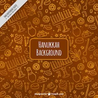 Aquarell hintergrund mit dekorativen elemente für hanukkah