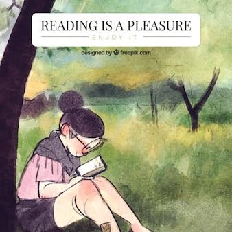 Aquarell hintergrund von mädchen ein buch unter einem baum zu lesen