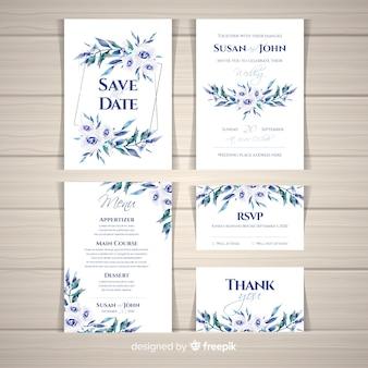 Aquarell hochzeit briefpapier vorlagensammlung