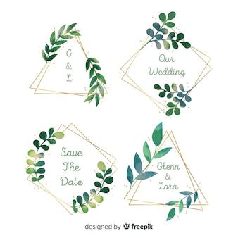 Aquarell hochzeit frame logosammlung