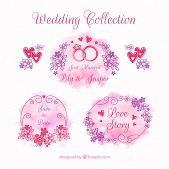 Aquarell Hochzeit Ornament Sammlung
