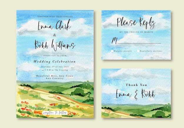 Aquarell-hochzeits-einladungs-karte des blauen sonnigen himmels und des grünen feldes