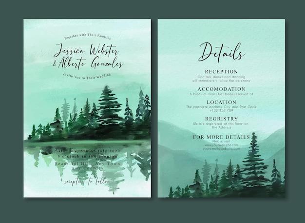 Aquarell-hochzeits-einladungs-karte mit nebligem berg und bäumen im see
