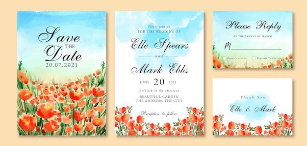 Aquarell-hochzeitseinladung mit orange tulpen und blauer himmelslandschaft